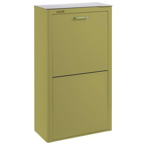 CUBEK - Cubo de basura y reciclaje lacado, con 4 compartimentos. Verde oliva