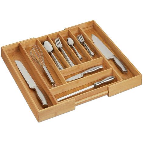 Cubertero, Bambú, Extensible, Bandeja cubiertos para cajón, 7-9 compartimentos, 5x49,5x44,5 cm, marrón natural