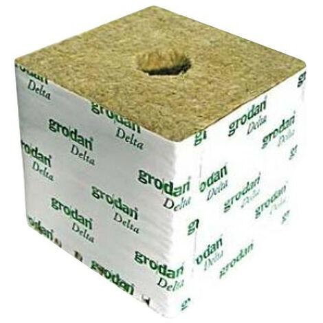 Cubes de laine de roche 10x10x6.5 - Trou de 27/35mm - Carton de 216 cubes - Grodan