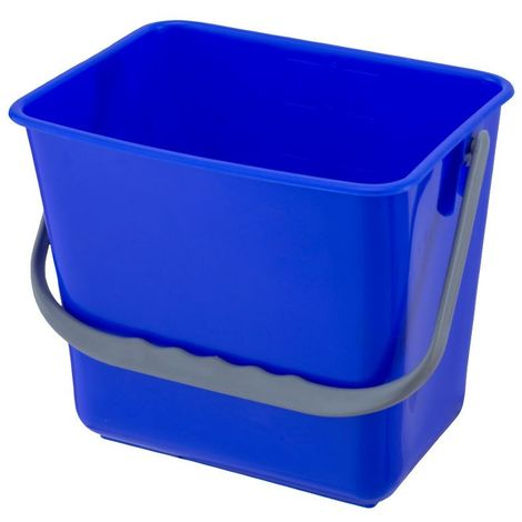 Cubeta cuadrada 6 Lt. con asa para carritos de limpieza institucional. Color Azul.