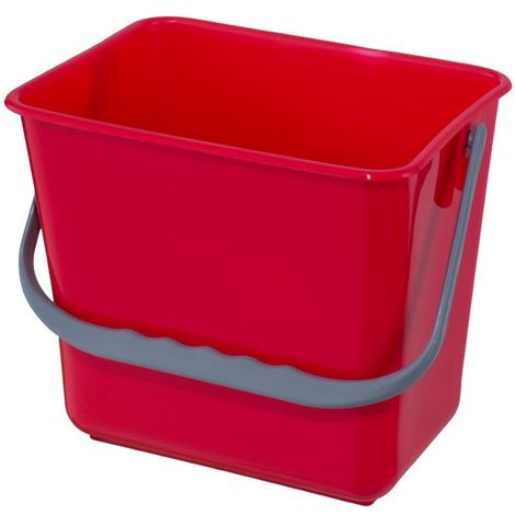 Cubeta cuadrada 6 Lt. con asa para carritos de limpieza institucional. Color Rojo