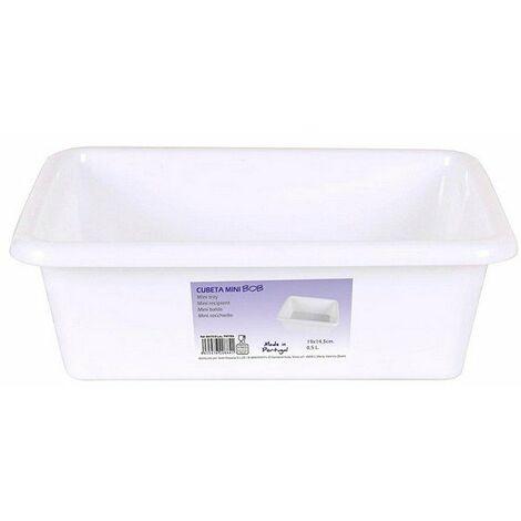 Cubeta Mini 0,5 L Rectangular Blanca (19 X 14,5 Cm)
