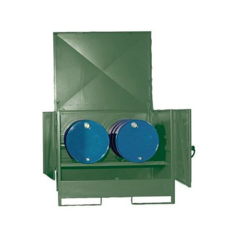 Cubeto de retención horizontal cerrado para 2 bidones de 200 litros