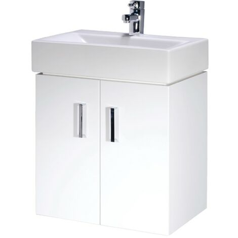 Cubi 450mm White Gloss Wall Hung Cabinet & Basin - 1 Tap Hole