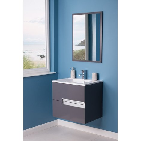 Cubic Grey 605mm Wall Hung Double Drawer Vanity Unit Basin with FREE Mirror