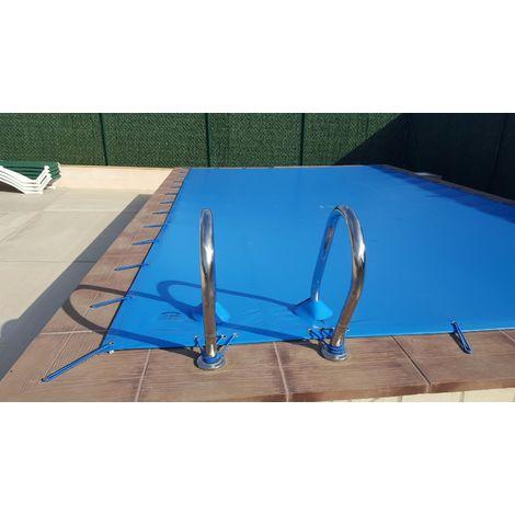 Cubierta de invierno para piscina de 3 x 3 m más 15 cm por cada lado para anclaje de color Azul (exterior) / Negro (interior)