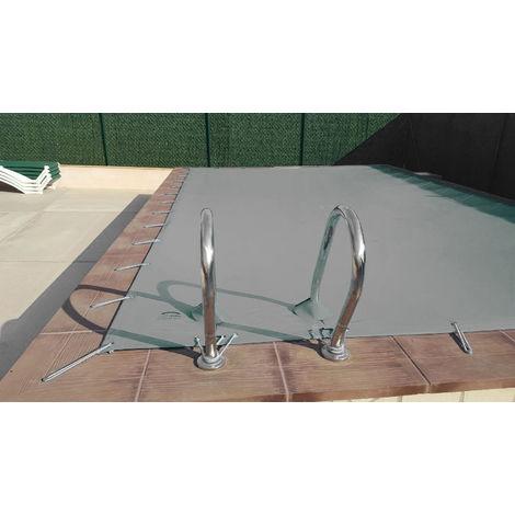 Cubierta de invierno para piscina de 3 x 3 m más 15 cm por cada lado para anclaje de color Gris (exterior) / Gris (interior)