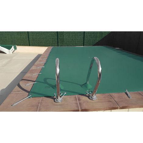 Cubierta de invierno para piscina de 3 x 3 m más 15 cm por cada lado para anclaje de color Verde (exterior) / Beige (interior)