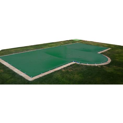 Cubierta de invierno para piscina de 3 x 3 m más 15 cm por cada lado para anclaje de color Verde (exterior) / Verde (interior)
