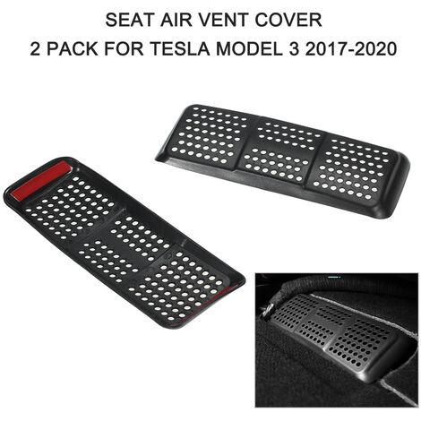 Cubierta de ventilacion de aire para asiento de coche, proteccion de rejilla de ventilacion de flujo de aire, paquete de 2 piezas de repuesto para Tesla Model 3 2017-2020, Negro
