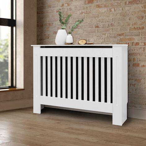 Cubierta del radiador 112x19x82cm estilo rústico MDF protector calefactor blanco