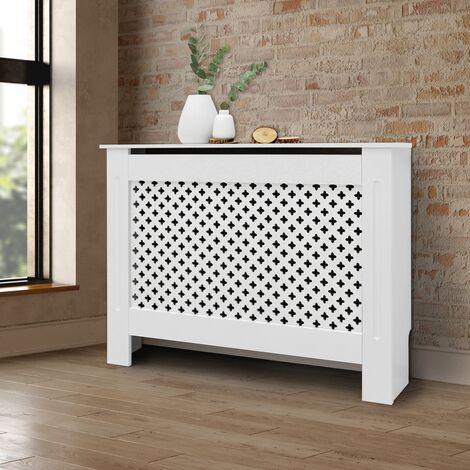 Cubierta del radiador 112x19x82cm patrón panal MDF protector calefactor blanco