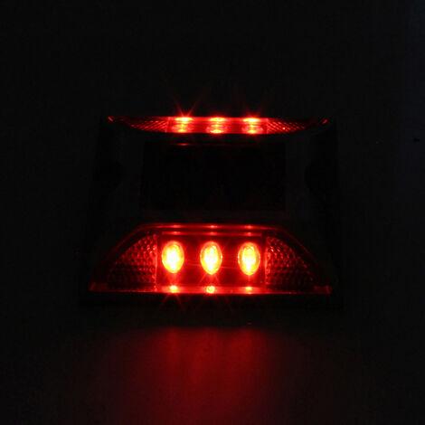 Cubierta solar ilumina la calzada 6-LED de luz de aluminio impermeable al aire libre Camino Camino Escaleras Paso lampara de tierra para el Camino del jardin Patio decoracion de la yarda, Rojo, Paquete de 1