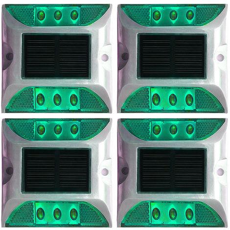Cubierta solar ilumina la calzada 6-LED de luz de aluminio impermeable al aire libre Camino Camino Escaleras tierra del paso de la lampara para el Camino, Verde, paquete de 4