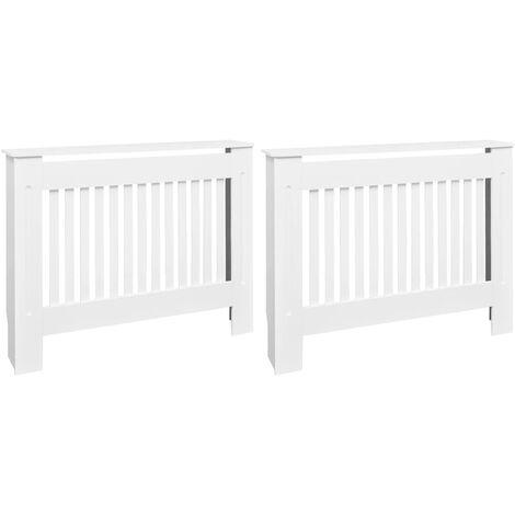 Cubiertas para radiador 2 unidades MDF blanco 112 cm