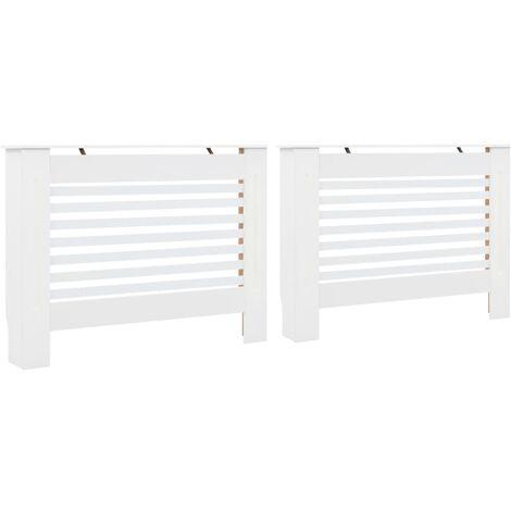 Cubiertas para radiador 2 unidades MDF blanco 112x19x81,5 cm