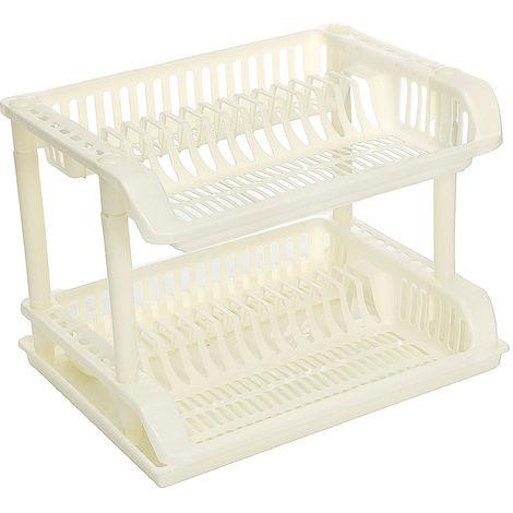 Cubiertos de plástico 2 niveles Escurreplatos Escurridor Bandeja Plato Plato Soporte de almacenamiento Cocina