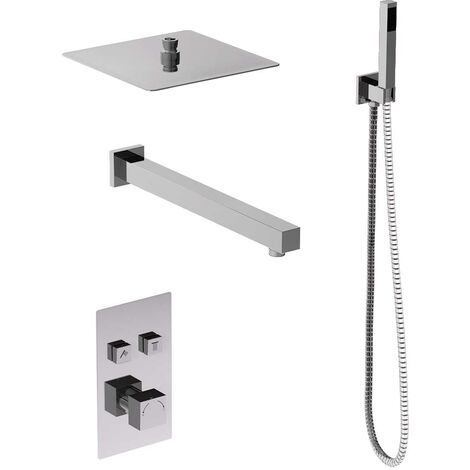 Cubix Concealed Push Button Twin Thermostatic Shower Valve Including Square Fixed Head & Square Shower Outlet Holder With Kit