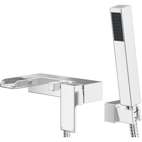 "main image of ""Cubix Polished Chrome Waterfall Wall Mounted Bath Shower Mixer Tap"""
