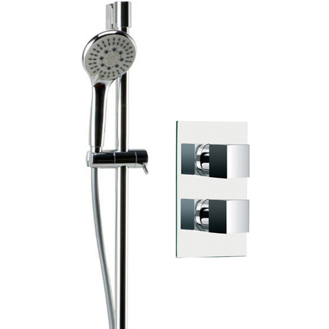 Cubix Twin Thermostatic Valve Mixer Shower With Avon Slide Rail Kit & Round Elbow