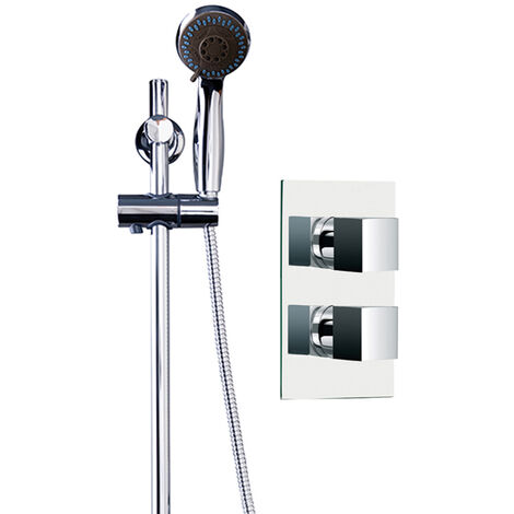 Cubix Twin Thermostatic Valve Mixer Shower With Clyde Slide Rail Kit & Round Elbow