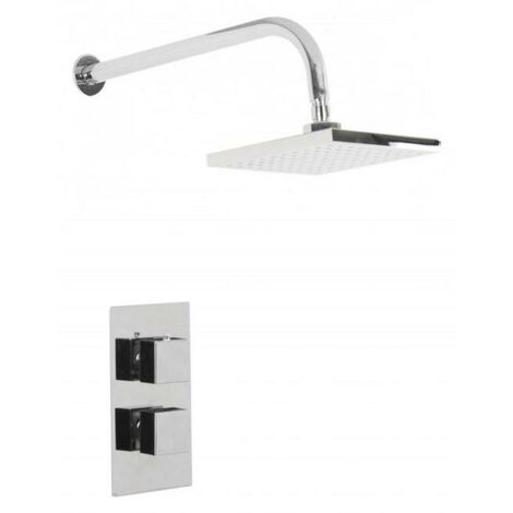 Cubix Twin Thermostatic Valve Mixer Shower With Square Head & Wall Arm