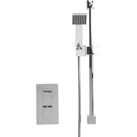 Cubix Twin Thermostatic Valve Mixer Shower With Thames Slide Rail Kit & Square Elbow