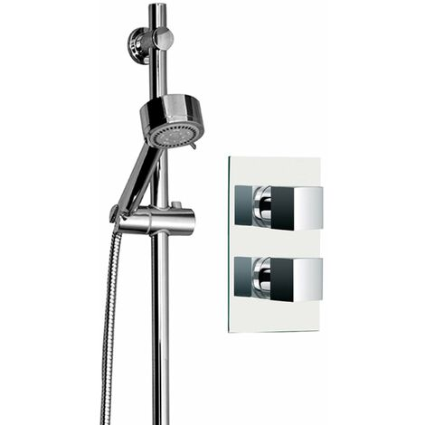 Cubix Twin Thermostatic Valve Mixer Shower With Tyne Slide Rail Kit & Round Elbow