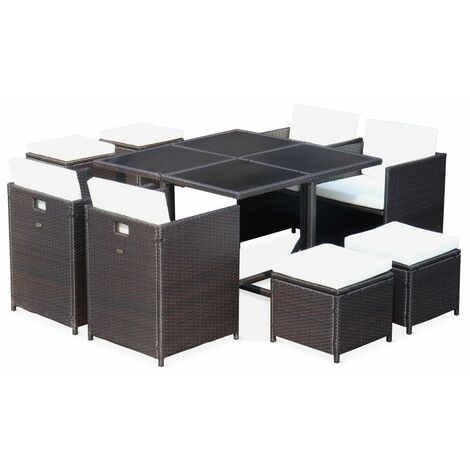 Cubo 8 - 8 Seater Garden Table Stacking Cube Set Brown