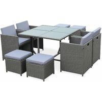Cubo 8 - 8 Seater Stacking Table Cube Garden Set Grey