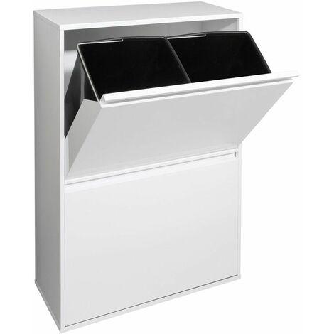 Arregui Basic Cubo de basura y reciclaje de acero de 4 cubos, blanco