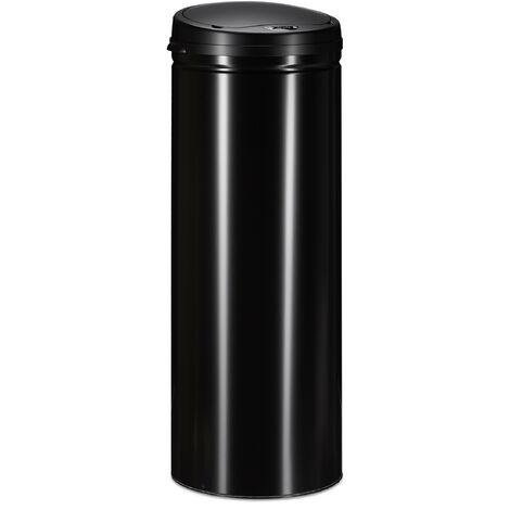 Cubo Basura Cocina Redondo con Sensor, Acero, Negro, 80 x 30 cm