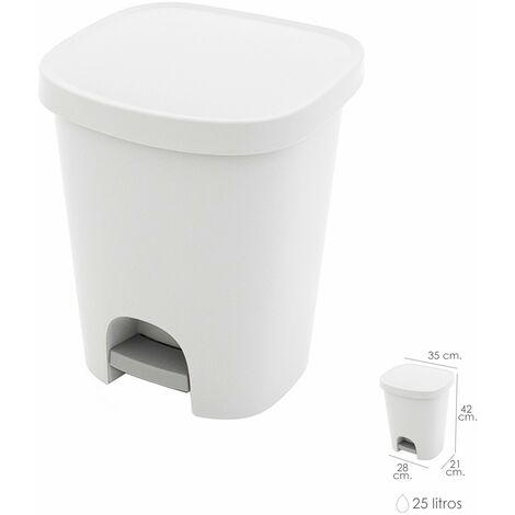 Cubo basura con pedal 25 litros plastico blanco