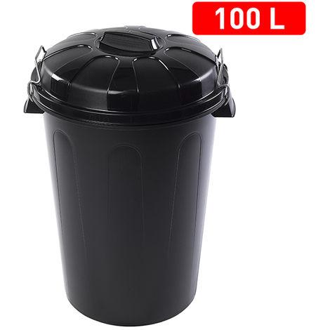 Cubo Basura Con Tapa 100 L. Negro