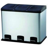 Cubo Basura Reciclaje 36Lt 58X39X47Cm C/Pedal 3 Compartimentos Inox