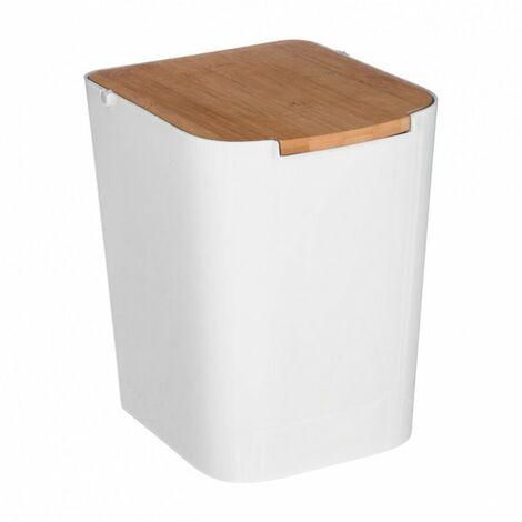 """main image of """"Cubo con tapa de bambú 5 litros para baño"""""""