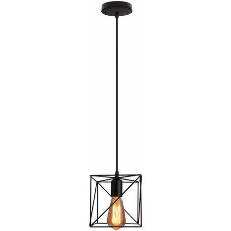 Cubo Creativa Lámpara Colgante Negro Araña industrial Vintage Lámpara de Techo de Hierro para Bar Loft Office
