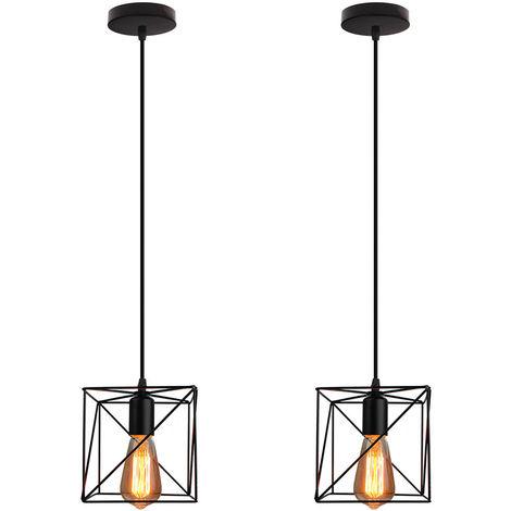 Cubo Creativa Lámpara Colgante Negro Araña industrial Vintage Lámpara de Techo de Hierro para Bar Loft Office(2X)