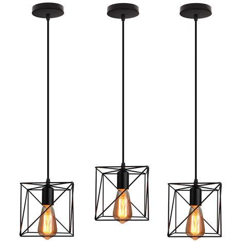 Cubo Creativa Lámpara Colgante Negro Araña industrial Vintage Lámpara de Techo de Hierro para Bar Loft Office(3X)