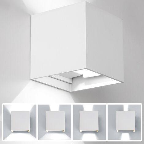 Cubo cuarto de bano LED lampara de pared ligera, AC85-265V, 12W, cascara blanca, luz blanca