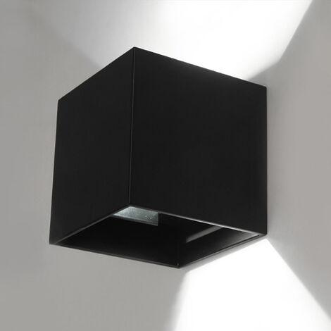 Cubo cuarto de bano LED lampara de pared ligera, AC85-265V, 12W, cascara negro, luz blanca