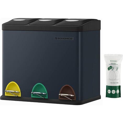 Cubo de Basura, Basurero con Pedal 3 en 1, 24 Litros, Sistema de Separación de Residuos para la Cocina, Duradero, Fácil de limpiar, Acero