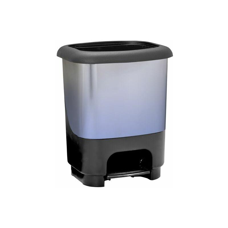Cubo de basura con pedal Class 10 litros en color azul y negro metalizado - GREAT PLASTIC