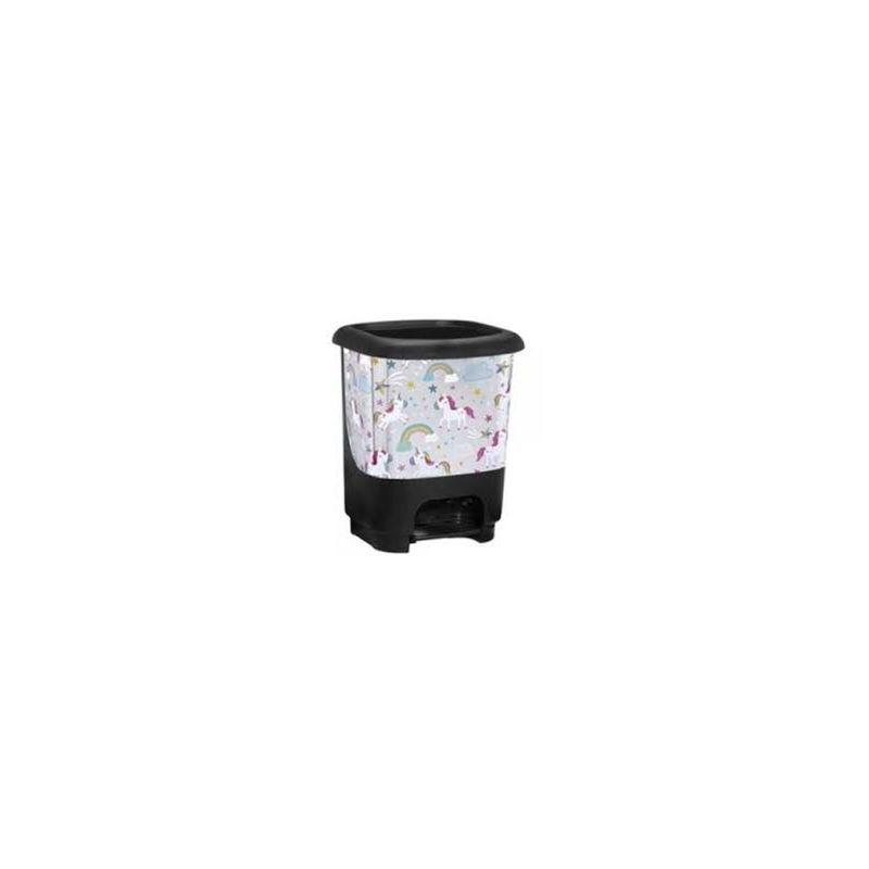 Cubo de basura con pedal Class 10 litros en color blanco con unicornios - GREAT PLASTIC