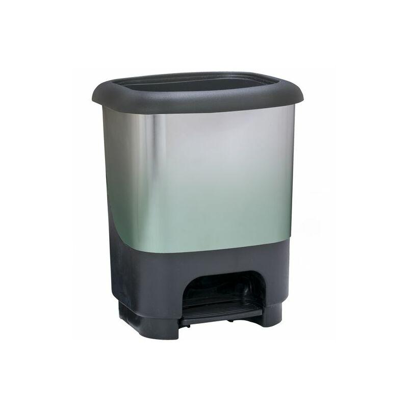 Cubo de basura con pedal Class 10 litros en color verde y negro metalizado - GREAT PLASTIC
