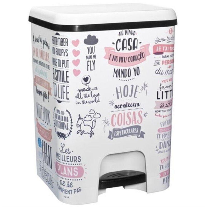 Cubo de basura con pedal Class 26 litros en color blanco con textos - GREAT PLASTIC