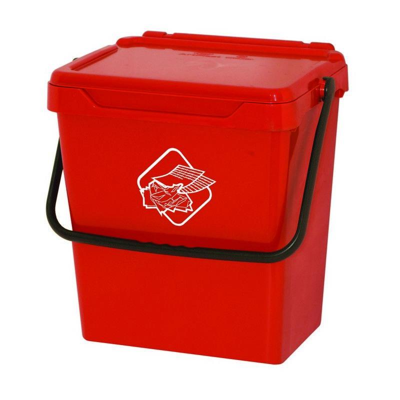 Homemania - Cubo de basura Different - Cubo - para la recogida selectiva - Rojo, Negro en Polipropileno, 40 x 30,5 x 39 cm
