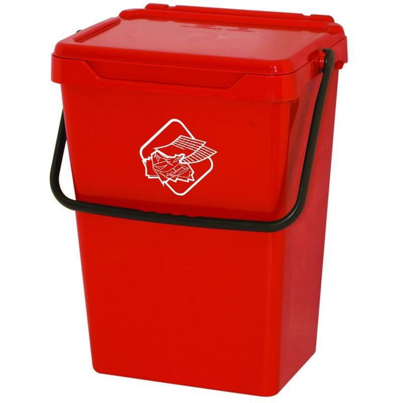 Homemania - Cubo de basura Different - Cubo - para la recogida selectiva - Rojo, Negro en Polipropileno, 40 x 30,5 x 51 cm
