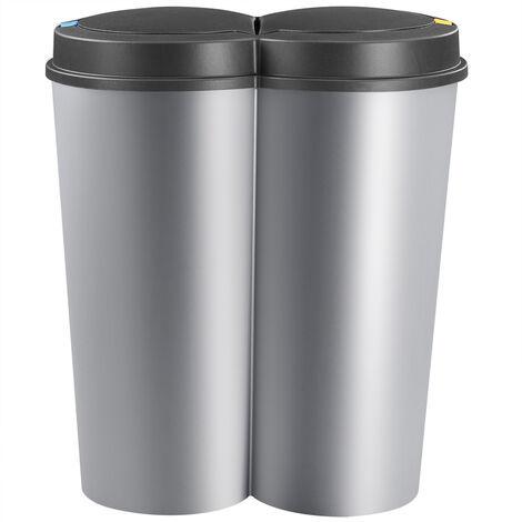 Cubo de basura Doble 50L 2x25L cubo de papel cubo de desechos balde de basura Basurero reciclaje