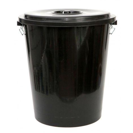 Cubo de basura negro con tapadera. Capacidad 100 Litros. Especial esterior